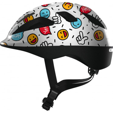 ABUS - Smooty 2.0 White Smiley - Kids Bike Helmet